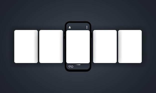 스마트 폰으로 소셜 미디어 회전 목마. 소셜 네트워크에 인터페이스 회전 목마 게시물이있는 스마트 폰.