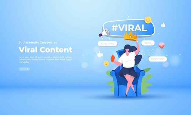 소셜 미디어 유명인이 바이러스 성 콘텐츠 개념을 만듭니다.