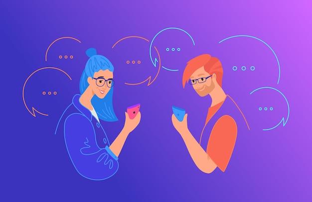ソーシャルメディアチャットとコミュニケーションの概念フラットベクトルイラスト。ソーシャルネットワークアプリにコメントを残して、テキストメッセージにモバイルスマートフォンを使用している10代の少年と少女。ふきだしで幸せな人