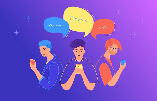 ソーシャルメディアチャットとコミュニケーションの概念フラットベクトルイラスト。ソーシャルメディアでのチャット、テキストメッセージ、コメントにモバイルスマートフォンを使用している10代の少年と少女。ふきだしを持つ若者