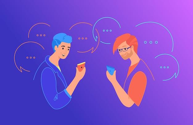 ソーシャルメディアチャットとコミュニケーションの概念フラットベクトルイラスト。ソーシャルネットワークアプリにコメントを残して、テキストメッセージにモバイルスマートフォンを使用している2人の10代の少年。吹き出しで幸せなティーンエイジャー