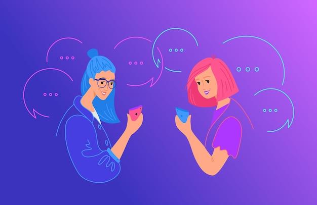 ソーシャルメディアチャットとコミュニケーションの概念フラットベクトルイラスト。ソーシャルネットワークアプリにコメントを残して、テキストメッセージにモバイルスマートフォンを使用している2人の10代の少女。吹き出しで幸せなティーンエイジャー
