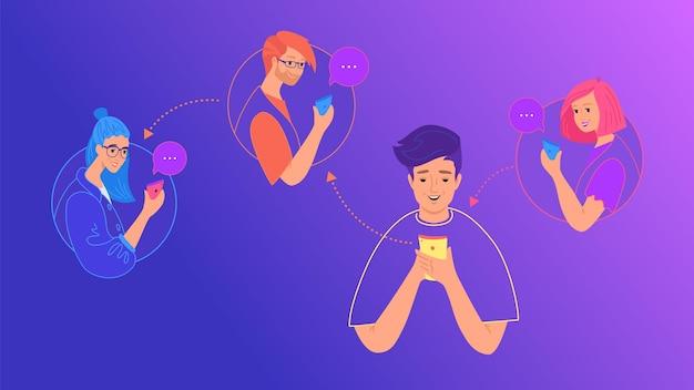 소셜 미디어 채팅 및 데이터 공유 개념 평면 벡터 일러스트 레이 션. 모바일 스마트폰을 사용하여 이미지를 다시 게시하고, 문자 메시지를 보내고, 친구를 위해 소셜 네트워크 모바일 앱에 댓글을 남기는 10대 소년