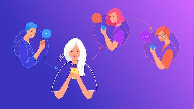소셜 미디어 채팅 및 데이터 공유 개념 평면 벡터 일러스트 레이 션. 모바일 스마트폰을 사용하여 이미지를 다시 게시하고, 문자 메시지를 보내고, 친구를 위해 소셜 네트워크 모바일 앱에 댓글을 남기는 10대 소녀