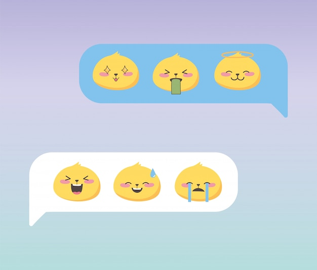 Социальные медиа чат эмодзи выражения лица мультфильма приложение