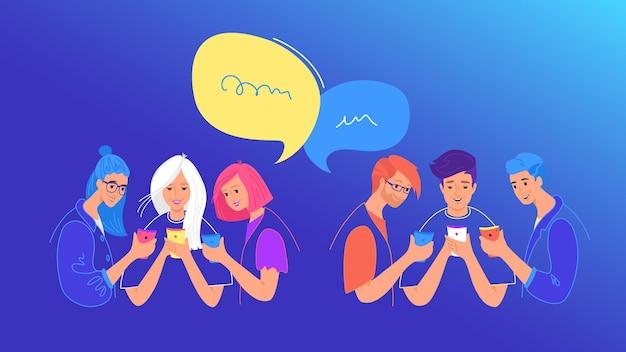 ソーシャルメディアチャットまたは世論調査の概念フラットベクトルイラスト。ソーシャルメディアでのチャット、テキストメッセージ、投票にモバイルスマートフォンを使用している10代の少年と少女。ふきだしが2つある若者