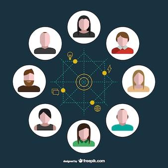Circoli di social media vettoriale