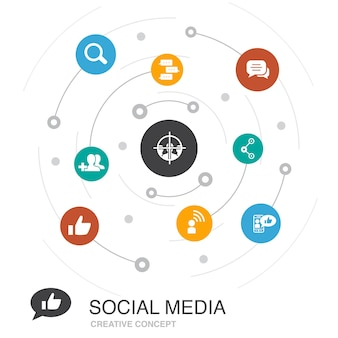 간단한 아이콘으로 소셜 미디어 색 원 개념입니다. 좋아요, 공유, 팔로우, 댓글과 같은 요소가 포함되어 있습니다.