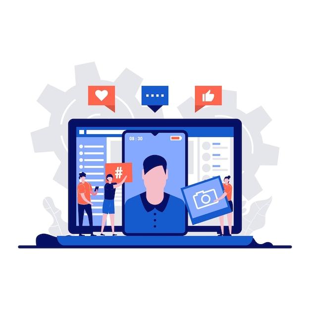 소셜 미디어, 캐릭터와 커뮤니케이션 개념. 성공적인 마케팅 전략으로 소셜 미디어 팔로워를 늘리는 사람들. 웹 배너, 온라인 광고를위한 창조적 인 평면 디자인.
