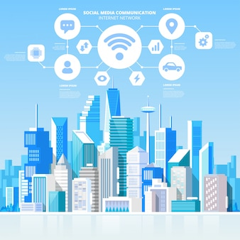 Social media communication internet network connection city skyscraper view cityscape