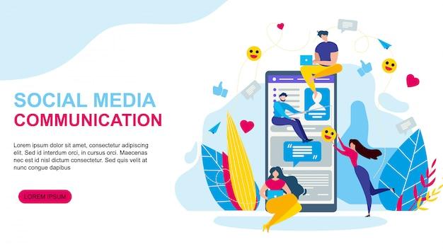 Social media communication landing page web template