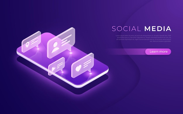 Social media communication, networking, chatting, messaging, following isometric concept vector illustration