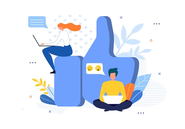 Social media community and huge like sign cartoon