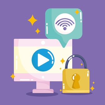 Social media, computer content internet security in cartoon style illustration