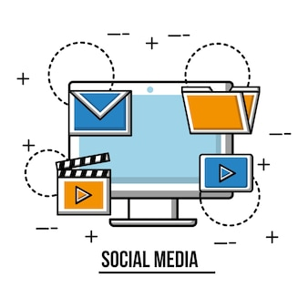 Social media computer email movie video folder