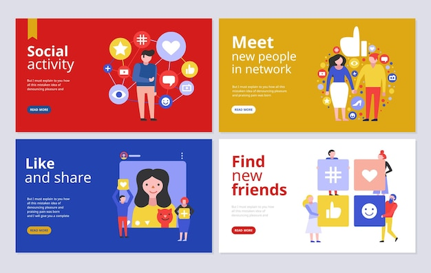Social media concept banners for joining network groups finding friends