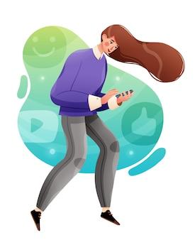 Концепция социальных средств массовой информации деловая женщина в чате в социальных сетях с помощью смартфона