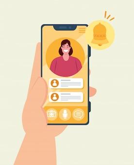 ソーシャルメディアの概念、スマートフォンでのチャットメッセージ通知、吹き出し付き携帯電話の画面の女性