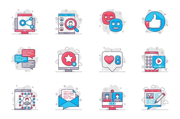 ソーシャルメディアの概念のフラットラインアイコンは、モバイルアプリのネットワーキングとオンライン通信を設定します