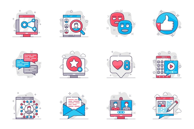 Social media concept flat line icons set networking and online communication for mobile app
