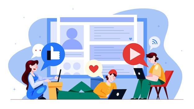 Концепция социальных сетей. глобальное общение, обмен контентом и получение обратной связи. использование сетей для продвижения бизнеса. маркетинговая стратегия. иллюстрация в мультяшном стиле