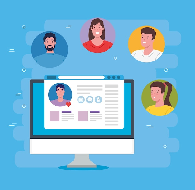 Social media concept, group of people communicating by computer illustration design