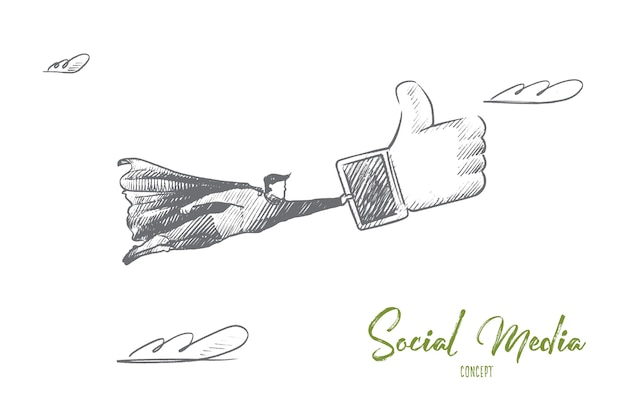 Social media concept. hand drawn superhero with big like in hand. flying man holds sign like from social network isolated illustration.