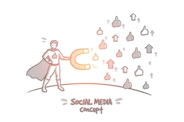 Social media concept. hand drawn symbols of likes and dislike. attracting attention on the internet isolated illustration.