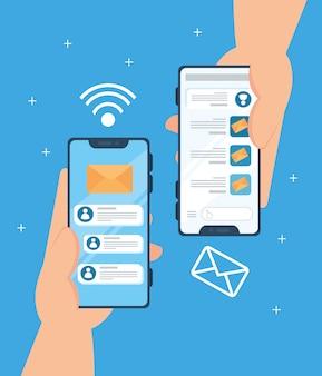 Концепция социальных сетей, руки, держащие смартфоны с уведомлениями