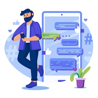 Social media concept illustration with characters in flat design