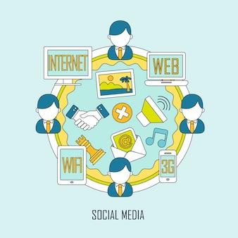 평평한 얇은 선 스타일의 소셜 미디어 개념