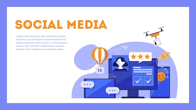 Social media concept. internet communication and global connection. people share content online.  isometric illustration