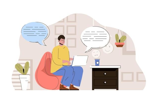 ソーシャルメディアの概念の人がソーシャルネットワークを閲覧し、友達とチャットする