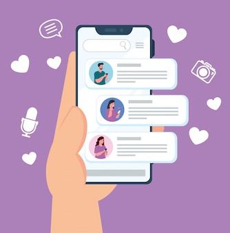 소셜 미디어 개념, 스마트 폰에서 채팅하는 사람들, 온라인 커뮤니케이션
