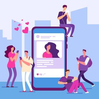 ソーシャルメディアの概念。人々はスマートフォンでメッセージをフォローし、いいね!