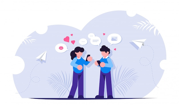 Концепция социальных медиа. люди получают сообщения в интернете или в мессенджерах. современный способ общения и общения.