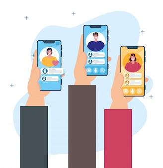 Концепция социальных сетей, люди общаются в чате, отправляя текстовые сообщения, держа смартфоны