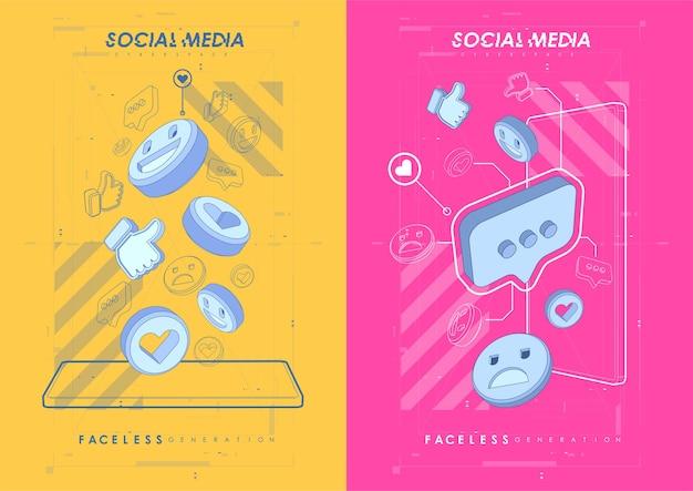 Плакат концепции социальных сетей. современный рекламный веб-баннер для мобильных приложений в социальных сетях.