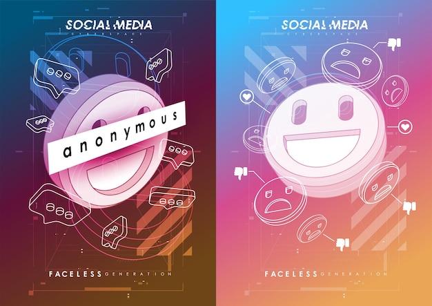 Social media concept poster. modern promotion web banner for social media mobile apps.