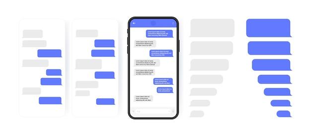 소셜 미디어 개념. 캐 러셀 메신저 채팅 화면이있는 스마트 폰. 작성 대화를위한 sms 템플릿 거품. 현대 그림 스타일.