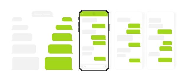 ソーシャルメディアの概念。カルーセルメッセンジャーチャット画面を備えたスマートフォン。作成ダイアログのsmsテンプレートバブル。モダンなイラスト。