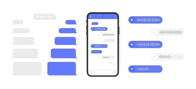 Концепция социальных сетей. смартфон с экраном чата мессенджера и голосовой волной. шаблоны sms-сообщений для создания диалогов. современная иллюстрация.