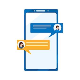 소셜 미디어 개념입니다. 소셜 네트워크, 모바일 가상 통신. 대화, 채팅, 휴대 전화 통신. 흰색 배경에 고립 된 평면 벡터 일러스트 레이 션