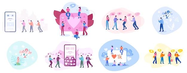 소셜 미디어 개념. 콘텐츠 게시 및 공유를 위해 네트워크 사용. 인터넷 통신 및 글로벌 연결. 삽화