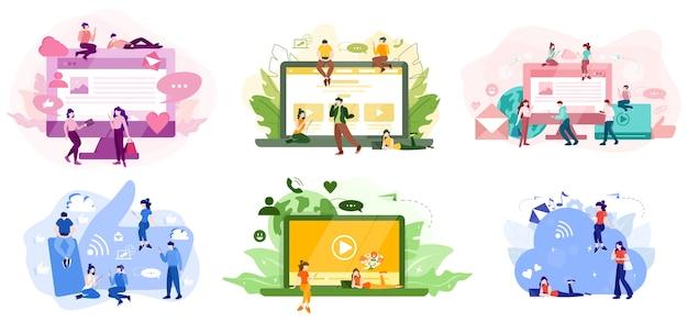 소셜 미디어 개념. 콘텐츠 게시 및 공유를 위해 네트워크 사용. 인터넷에서의 홍보. 삽화