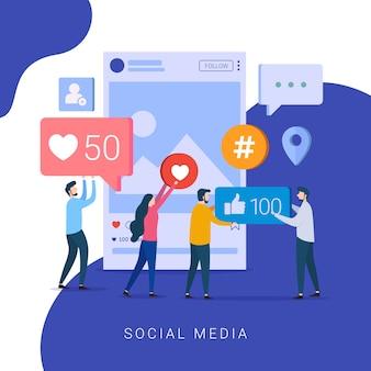 Social media concept for website and mobile website
