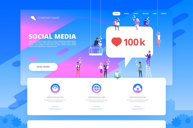 Social media concept for website.