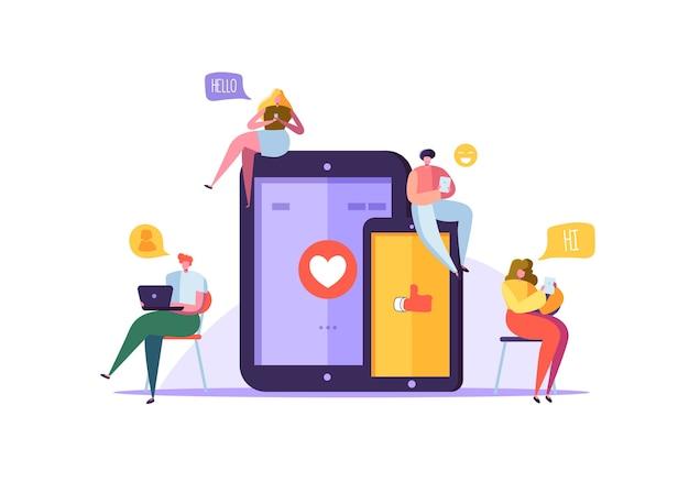 가제트에서 채팅하는 캐릭터와 소셜 미디어 개념