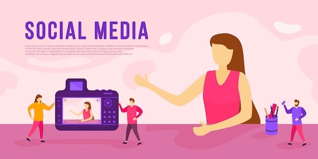 Концепция социальных медиа с персонажами. друзья переписываются онлайн, общаются, делятся новостями и впечатлениями. персонажи людей вместе с передовыми технологиями. иллюстрация.