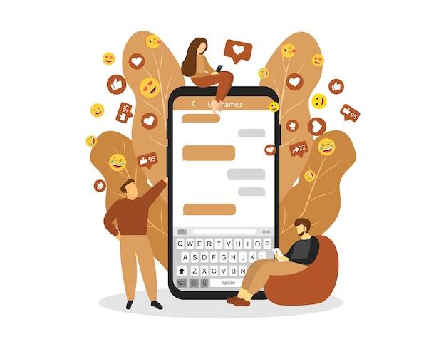 キャラクターとソーシャルメディアの概念。ソーシャルネットワーク。ソーシャルマーケティング。フラットスタイル。